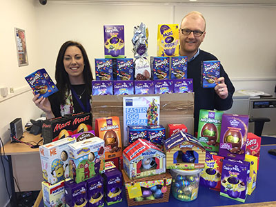 Access Storage Portsmouth team showing Easter donations