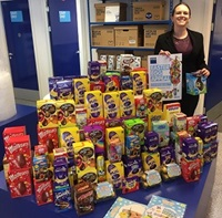 Charity collecting Easter eggs