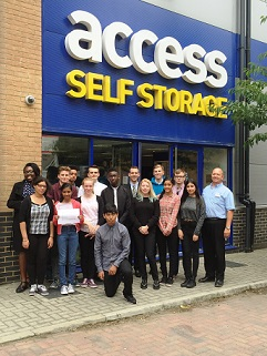 Team and supporters outside Access Self Storage Croydon Purley Way store