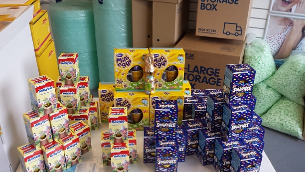 Large pile of donated Easter Eggs