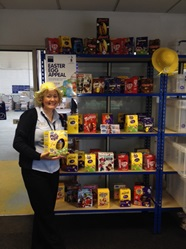shelves full of donated Easter eggs