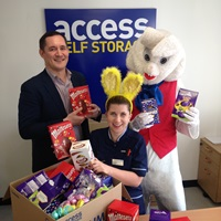 Easter bunny with donated Easter eggs