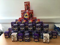 pile of donated Easter Eggs