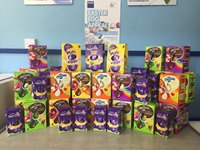 stack of collected Easter eggs