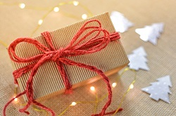 presents wrapped with red string