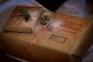 presents wrapped in brown paper