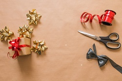 preparing Christmas present wrapping