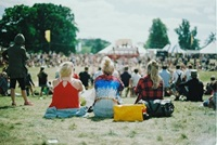 people sitting on grass at concert