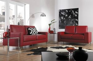 red sofas in stylish apartment