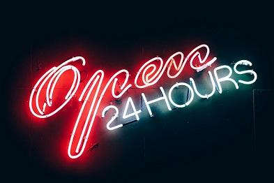 Neon sign - Open 24 hours