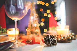 wine glass & decorations on table
