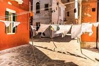 washing hanging in courtyard
