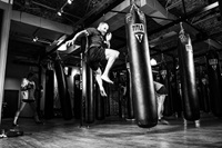 black and white photo inside gym