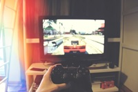 games console & monitor