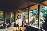 log conservatory overlooking garden