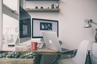 airy workstation by window