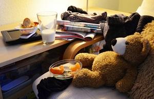 Teady bear eating fruit