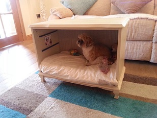 Dog bed within sideboard furniture