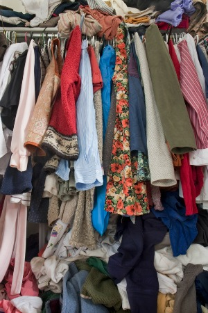 Messy overfilled wardrobe