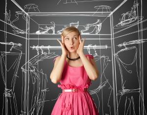surprised girl in pink dress