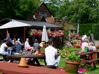 A group enjoying an outdoor drink at one of the many pub gardens in London