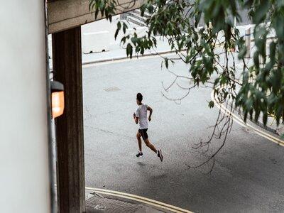 Man running through London