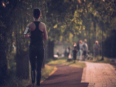 Woman running through London